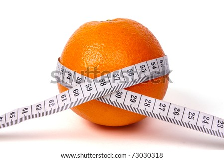 Fresh orange with measuring tape isolated on white background - stock photo
