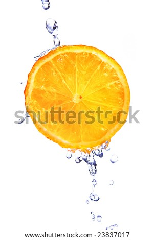 Fresh orange with water drops  isolated on white - stock photo