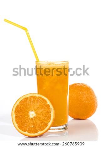 Fresh orangei juice with whole fruits isolated on white background. - stock photo