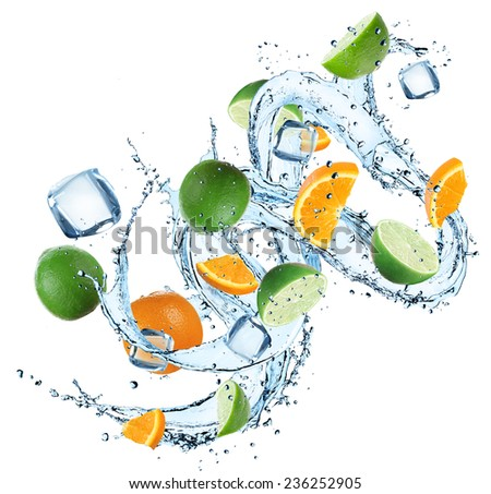 Fresh oranges and limes with water splash over white background - stock photo