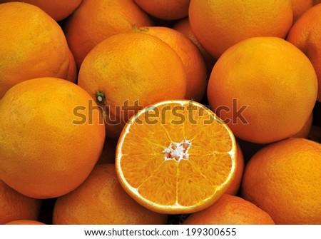 Fresh oranges at a farmers market - stock photo