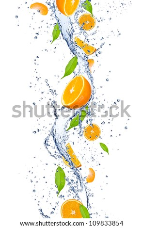 Fresh oranges falling in water splash, isolated on white background