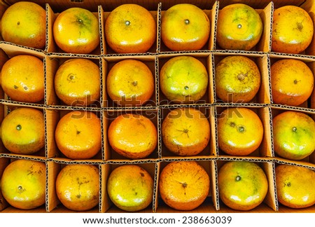 Fresh oranges in paper box,Top view of oranges. - stock photo