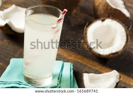 Fresh Organic Coconut Water in a Glass - stock photo