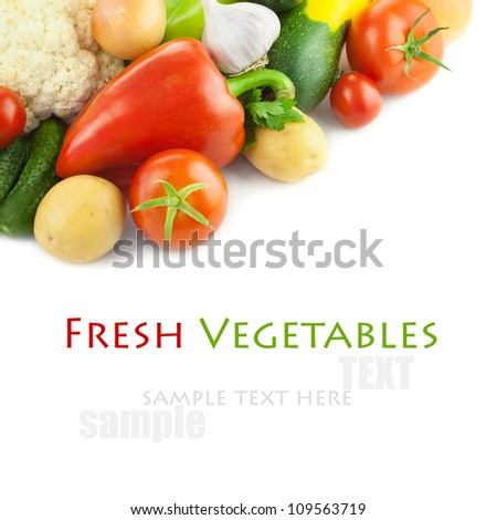 Fresh Organic Different Vegetables /  on white background  with copy space - stock photo