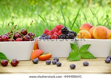 Fresh organic fruirs - healthy food for haelthy diet - stock photo