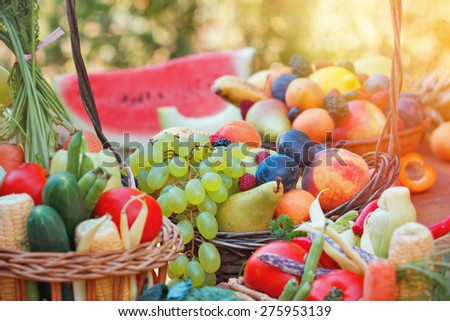 Fresh organic fruits and vegetables  - stock photo
