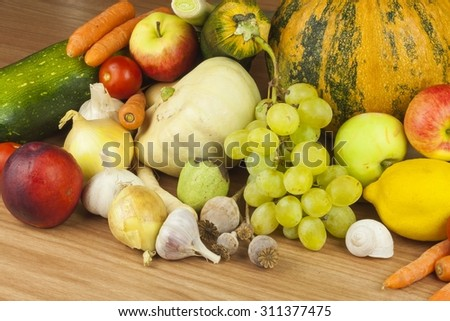 Fresh organic fruits and vegetables from local farms. Diet raw food ready to eat. Fruit and vegetables on the farm. Dietary food for weight loss.