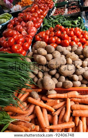 Fresh organic  Fruits and vegetables in a farmers market - stock photo