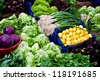 Fresh Organic Lemon, Basil, Lettuce, Cress, Chard, Purple Cabbage, Onion and Beet At A Street Market In Istanbul, Turkey. - stock photo