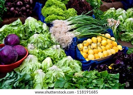 Fresh Organic Lemon, Basil, Lettuce, Cress, Chard, Purple Cabbage, Onion and Beet At A Street Market In Istanbul, Turkey. - stock photo