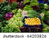 Fresh Organic Lemon, Parsley, Basil, Lettuce, Onion, Cress, Mint, Chard, Purple Cabbage and Radish At A Street Market In Istanbul, Turkey. - stock photo