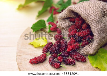 fresh organic mulberries in sackcloth bag with green and yellow mulberry leaf on wooden background. - stock photo