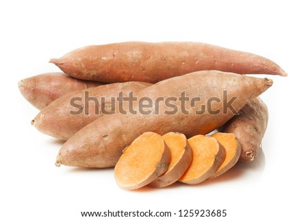 Fresh Organic Orange Sweet Potato against a background - stock photo