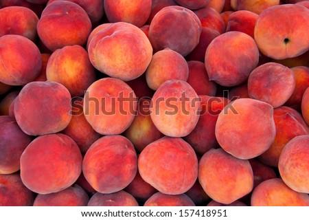 Fresh Organic Peaches  Heap Of Fresh Ripe Peaches At A Turkish Street Market.   - stock photo