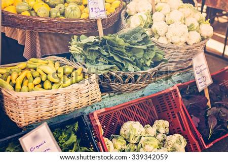 Fresh organic produce at the local farmers market. - stock photo