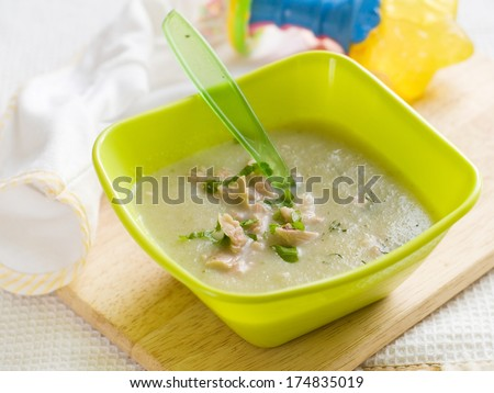 Fresh, organic pureed vegetables soup with chicken for baby. Shot for a story on homemade, organic, healthy baby foods.
