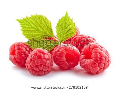 fresh organic raspberries isolated on white background - stock photo