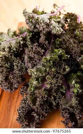 Fresh Organic Red Kale Ready to Chop - stock photo