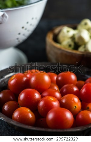 Fresh organic ripe cherry tomato, close view