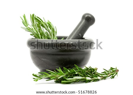 Fresh organic rosemary with mortar and pestle - stock photo