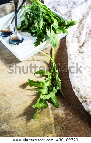 Fresh organic ruccola herb as a healthy food cooking concept