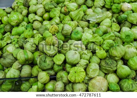 fresh organic tomatillo at the market place. organic tomatillo background