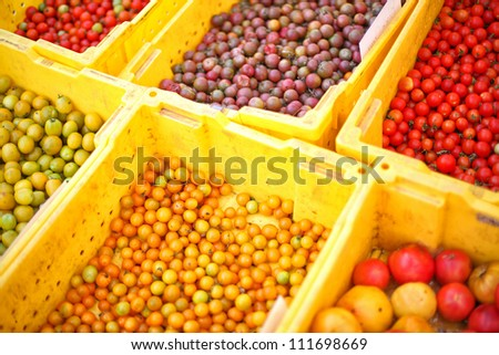 Fresh organic tomatoes at farmers market - stock photo