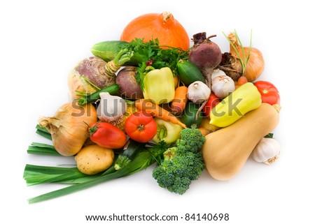 Fresh organic vegetable mix from my garden - stock photo