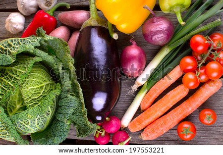 Fresh Organic Vegetable on wood - stock photo