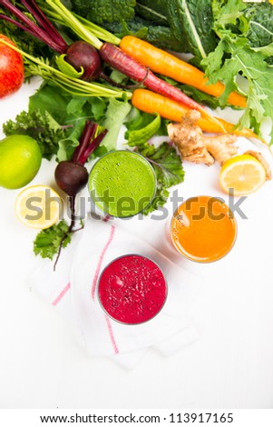 Fresh Organic Vegetables and Greens Juices - stock photo