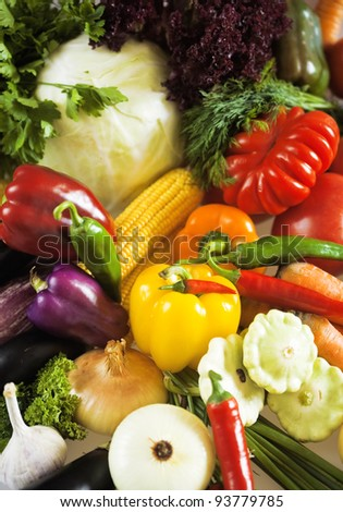 fresh organic vegetables as food and nature background - stock photo