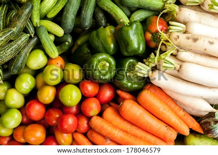 Fresh organic vegetables at asian market  - stock photo