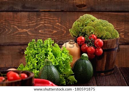 Fresh organic vegetables. Food background. Healthy food - stock photo