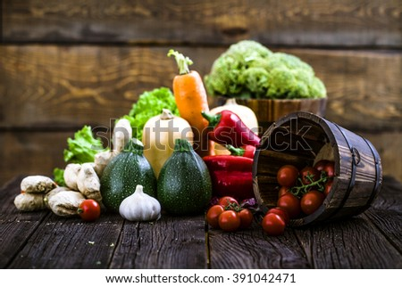 Fresh organic vegetables. Food background. Healthy food - stock photo