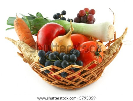 fresh organic vegetables in a basket - stock photo
