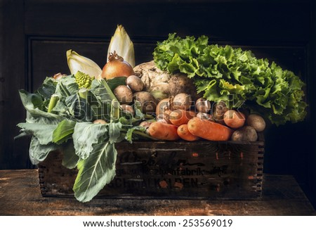 fresh organic vegetables in old  wooden box over dark wooden background - stock photo