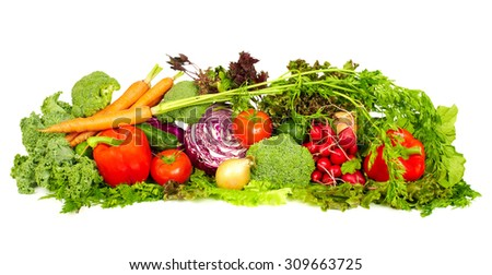 Fresh organic vegetables isolated white background. Healthy diet.