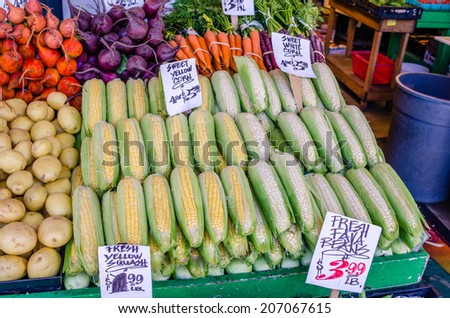 Fresh Organic Vegetables on Sale on Market Stall - stock photo