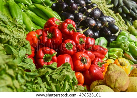 Fresh organic vegetables on street market stall.
