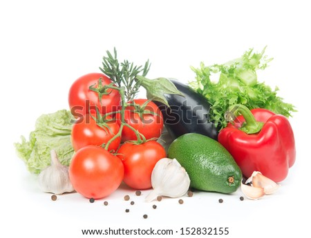 Fresh organic vegetarian food. Healthy eating vegetables food concept tomatoes, salad, eggplant, red peppers, garlic, avocado on a white background. - stock photo