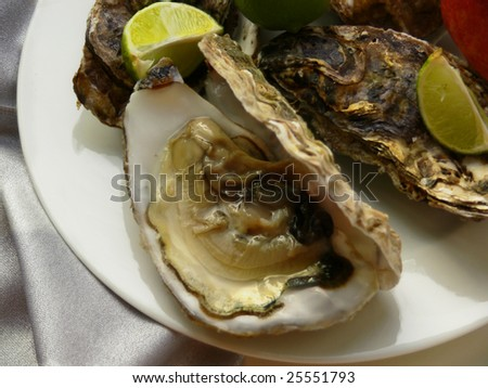 Fresh oyster an open bowl and segment  lemon on plate white