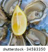 fresh oysters and lemon - stock photo
