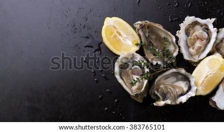 Fresh Oysters in shell with lemon on a dark background - stock photo
