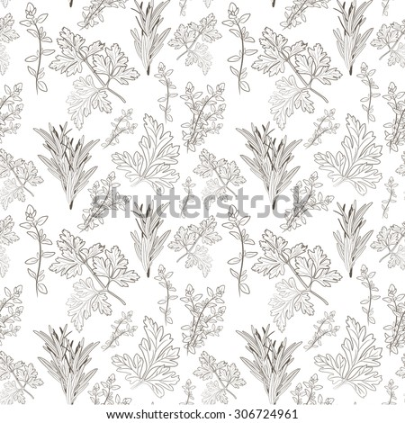fresh parsley, thyme and rosemary herbs. Aromatic leaves used to season meats, poultry, stews, soups, Bouquet granny. Seamless pattern - stock photo