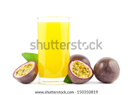 Fresh passion fruit juice with passion fruits on white - stock photo