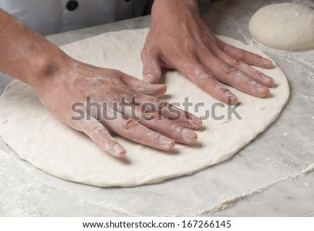 fresh pasta manual production - stock photo