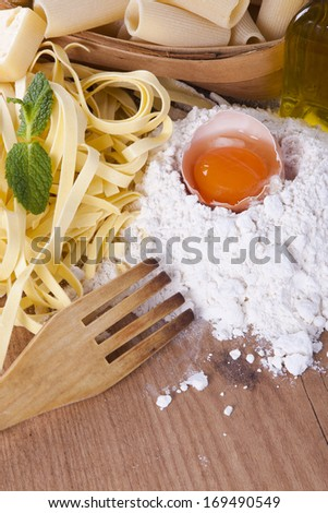 fresh pasta with natural foods balanced diet - stock photo