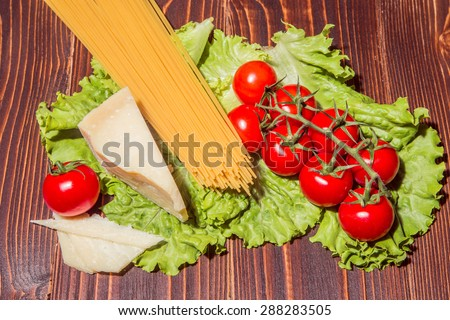 fresh pasta with tomato and chees - stock photo