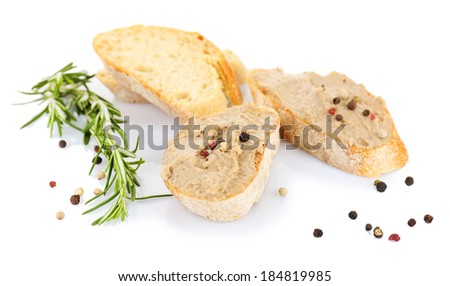 Fresh pate with bread isolated on white - stock photo